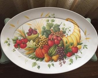 Vintage Melmac Brookpark Serving Tray No. 1521 Thanksgiving Cornucopia Melamine Platter Mid Century Retro Serving Dish Fruit Basket