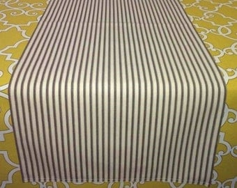 Lined Ticking Stripe Table Runner, Black, Aqua, Gray, Blue, Brown, Farm, Country, Shabby Chic, French Ticking Stripe Dresser Scarf