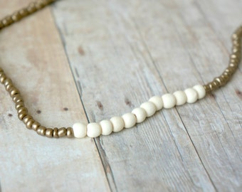 Ivory and Bronze Colored Beaded Necklace