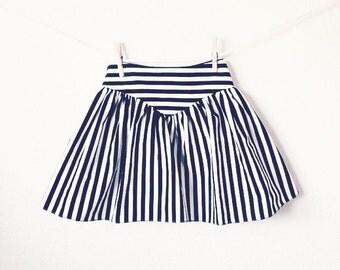 Free shipping!! Girls Black and White Striped Full Skirt With V-Shaped Yolk