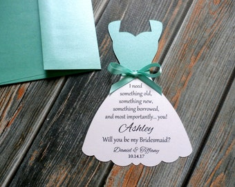 SHIMMER Bridesmaid Dress Invitation - I need something old, something new, something borrowed, and most importantly you!