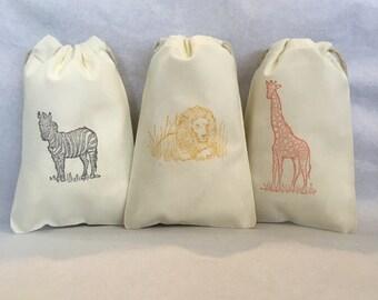 "15 Safari, Safari party, Safari party bags, Zoo party, Lion, Zebra, Giraffe- Safari party favor bags 4"" by 6"" - you choose ink color(s)"