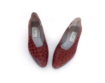 ITALIAN MAHOGANY - Mahogany Women's Heels Size 7.5 | Made in Italy | Red Heels | Animal Pattern