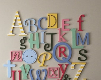 wooden alphabet letters set painted wooden letters wall hanging letters nursery decor alphabet wall abc wall 6 12