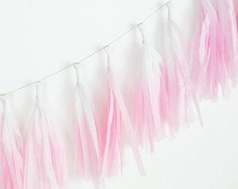 Dip Dye Tassel Garland - Pink Peony