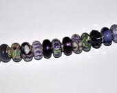 Lot of High Quality Handcrafted Purple and Green Murano European Beads