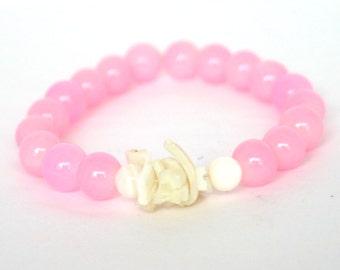 Pink Bracelet, Light Pink Bracelet, Shell Bracelet, Pink, White, Shell, Stretchy Bracelet, Mother's Day Gift, Cruise Wear, Resort Wear