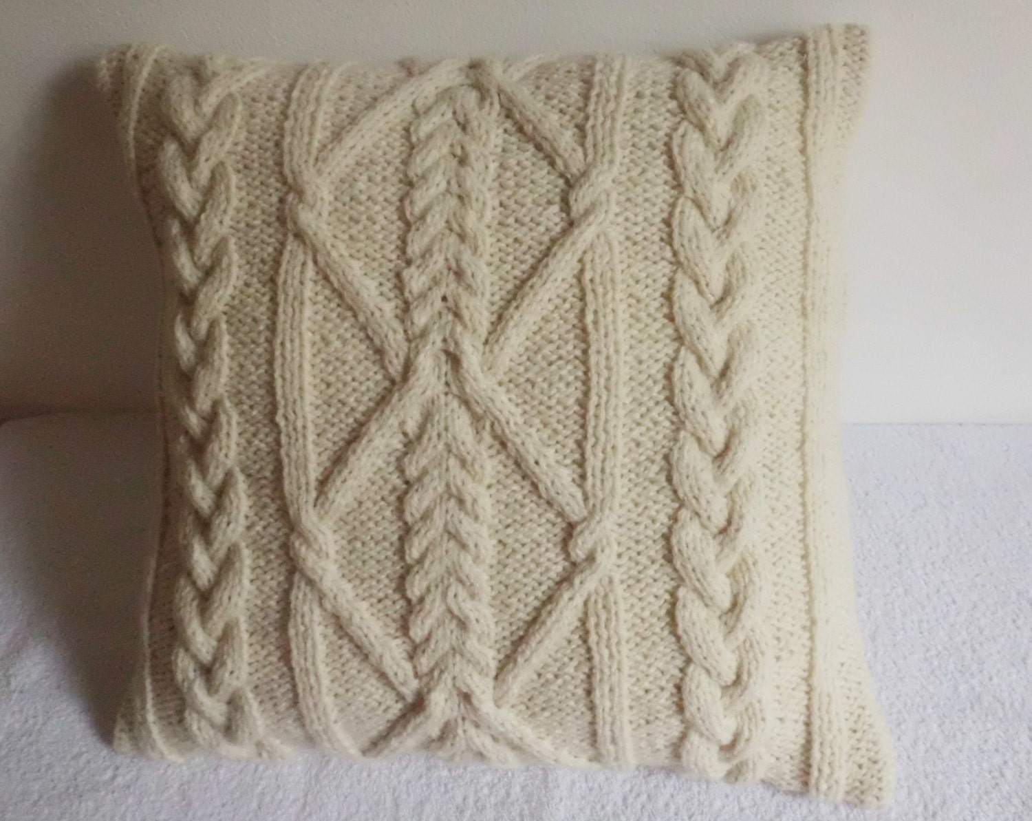 off white cable knit pillow cover throw pillow by adorablewares. Black Bedroom Furniture Sets. Home Design Ideas