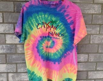 90s tie dye cayman islands t shirt