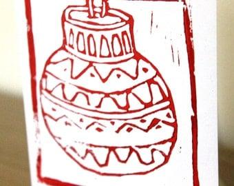 Red bauble handmade Christmas card