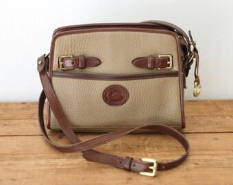 Vintage DOONEY and BOURKE Zip Top Buckle AWL Crossbody Shoulder Bag/ Dooney and Bourke Taupe Brown All-Weather Leather Cross Body Handbag