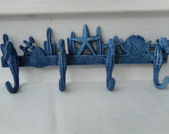 Cast iron seahorse coat rack / towel rack / beach decor