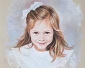 Pastel portrait of a girl, Pastel portrait drawing