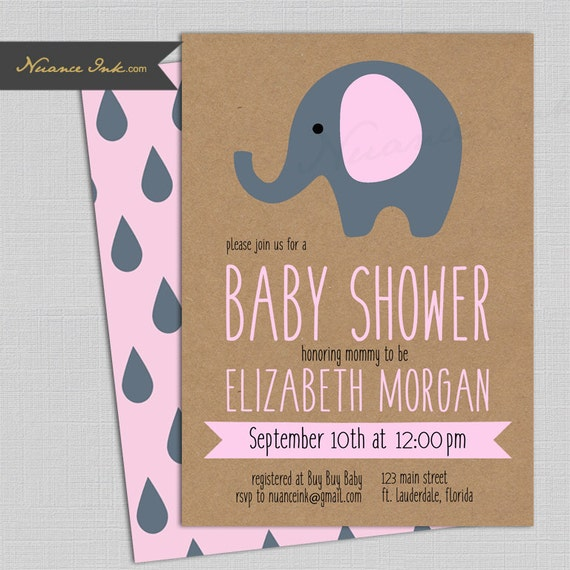 Elephant Baby Shower Invitations, pink or blue, 24 hr turnaround, printed or digital file diy, simple cute and elegant, kraft paper