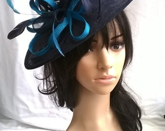 Navy & Turquoise Fascinator.. Sinamay Shaped disc Fascinator with double swirls , loops..wedding,races