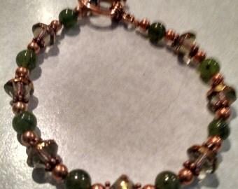 Czech glass Smoky Topaz and Canadian jade copper bracelet
