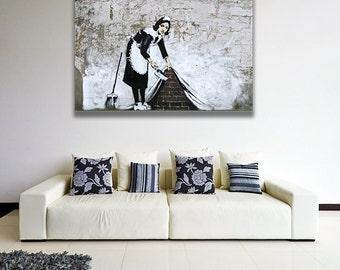 Banksy Housemaid Wall Art Canvas Print / Cleaning Floor Chambermaid Printing / Colorful Maid Street Art Graffiti Printable Painting