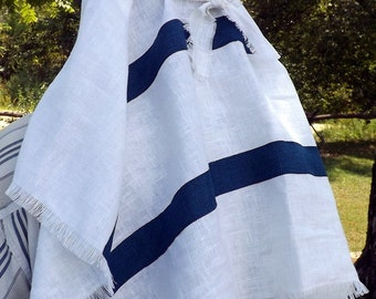 Shepherd of Israel 100% Linen Long Turban Scarf with Natural Fray and Ribbon Trim Head Cover