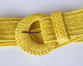 Vintage Yellow Wide Waist Belt one size small medium large Nautical Belt