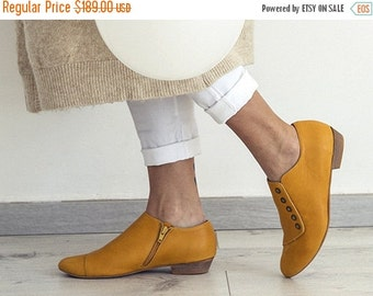Back to School Sale Yellow handmade shoes / Grace Yolk flat leather shoes by Tamar Shalem