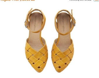 SUMMER FINAL SALE Yellow braided handmade Leather  flat Sandals / Sophie by Tamar Shalem