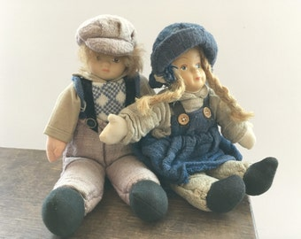 Vintage doll set Doll girl Doll boy Christmas gift Collectible doll Scandinavian doll set