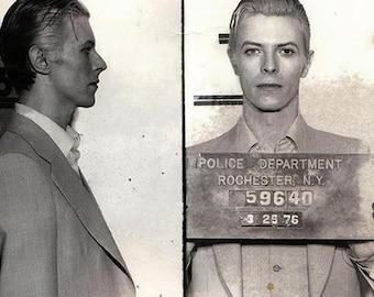 David Bowie, mugshot, Under pressure, lets dance, Black and white, old, vintage antique, photography, picture, print, fine art