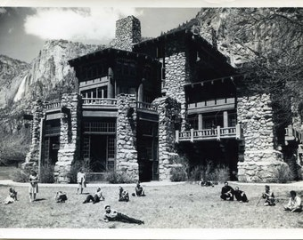 Ansel Adams, Yosemite Ahwahnee Hotel, vintage, clouds, mountains, black & white, monochrome, fine art print poster canvas