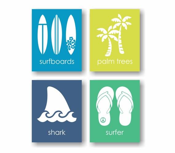 Surf nursery art surfing art surf board decor beach decor for Surf nursery ideas