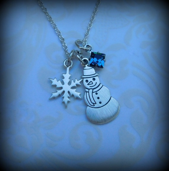 Sterling silver snowman necklace, winter jewelry, snow flake necklace, holiday jewelry, birthstone necklace