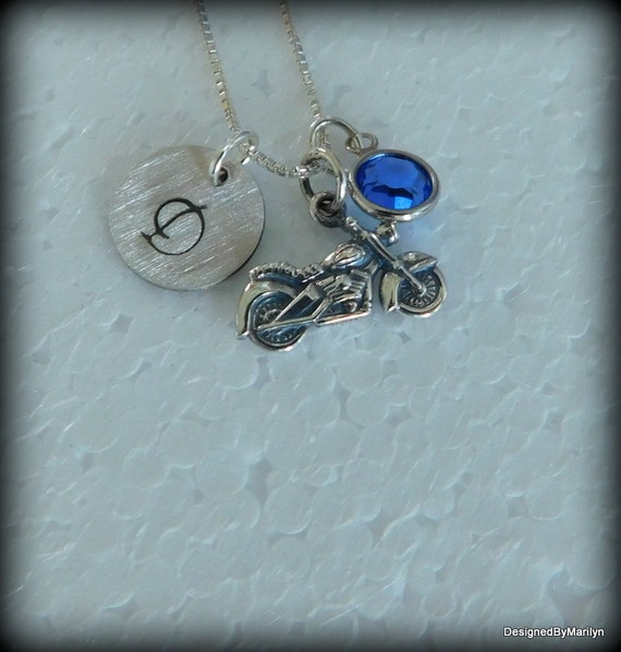 Sterling silver motorcycle  jewelry,  men's jewelry, ladies jewelry, birthstone necklace, hand stamped initial