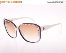 SALE -15% Christopher Dunhill, Vintage 70s red on white motif NOS handmade oversize sunglasses