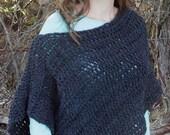 Crochet Grey Shawl, Wool Shawl, Adult, Young Adult, Children, Crochet, Wrap, Winter, Fall, Poncho