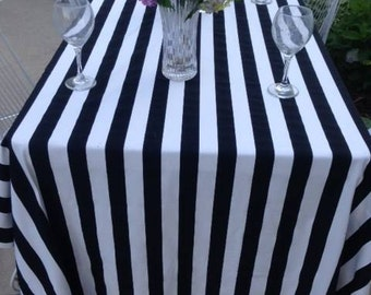 Black and White Stripe Wedding Table cloth, Dinner table, reception table decor, baby shower, birthday party, custom sizes available