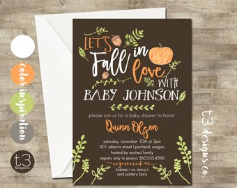 Fall Baby Shower Invitation, girl or boy baby shower invite, baby shower, fall baby shower, watercolor baby, pumpkin, autumn baby shower