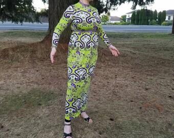 Rare Mr. Dino Psycedelic 60's Dress