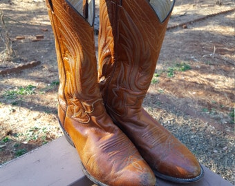 SALE Caramel Woven Justin Cowboy Boots 8.5 EE