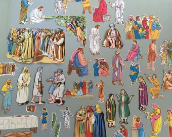 Vintage Bible pictures sunday school cut outs book pages paper ephemera collection