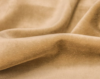 Camel Soft Cotton CVC Velour Cotton Polyester Fabric by Yard- Style 9001