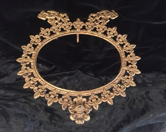 Victorian Era Brass Picture Frame with Photo, France, ca Late 1800s, Early 1900s