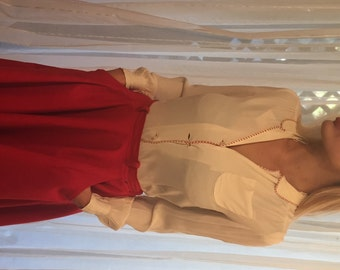 Vintage Bone Silk Blouse with Red Stitching, ca 1940s