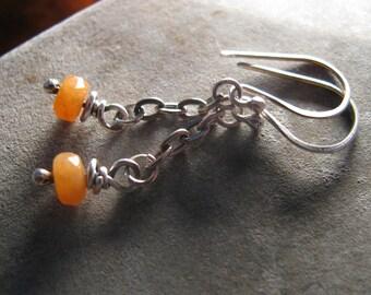 Orange Aventurine Sterling Silver Handmade/Hand Forged Dangle Earrings