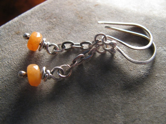Orange Aventurine Sterling Silver Handmade/Hand Forged Dangle Earrings