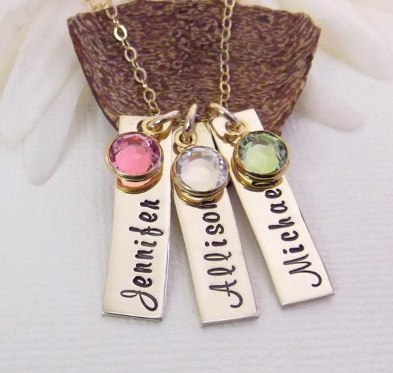 Gold Mom Necklace- Gold Name Tag Necklace- Mommy Jewelry- Hand Stamped Necklace- Grandma Jewelry- Name Tag Necklace- Gold Mother Necklace