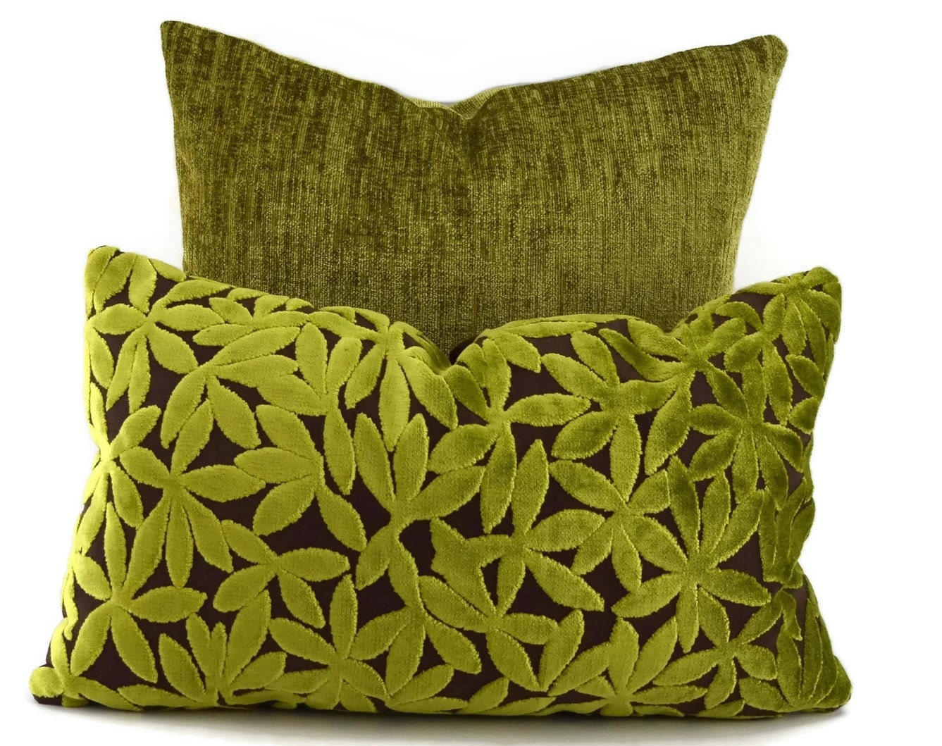 SALE Lime & Chocolate Cut Velvet Lumbar Pillow Cover Green
