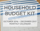 Household Budget Kit {INSTANT DOWNLOAD} 2017 Calendar with Oct to Dec 2016 // letter size // blue bold