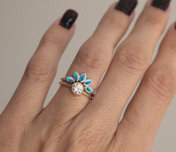 Turquoise And Diamond Engagement Ring Set Turquoise Diamond