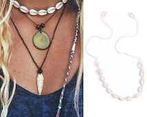 Cowrie shell choker, beach boho, necklace
