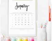 2016 Hand Lettered Calendar Printable