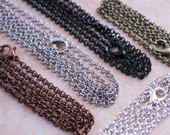 50- 18 inch Necklace Chains in Bulk - Rolo Loop Style - Belcher Chains - Wholesale Craft ...
